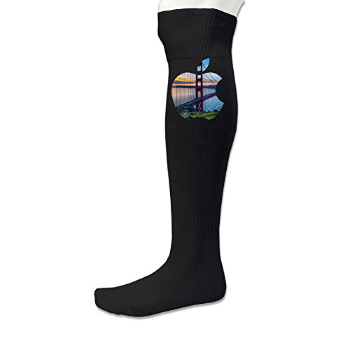 [EDRE San Francisco California Apple Men's&Women's Football SocksBlack (1 Pair)] (Captain Ron Halloween Costume)