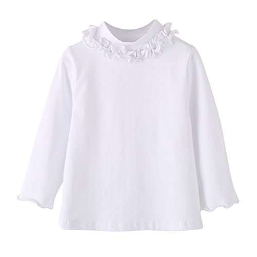 BAOBAOLAI Baby Girls Shirt Long Sleeve T-Shirt Cotton Lace Turtlenecks Princess Toddler Solid Tops Blouse(0-7Y) ()