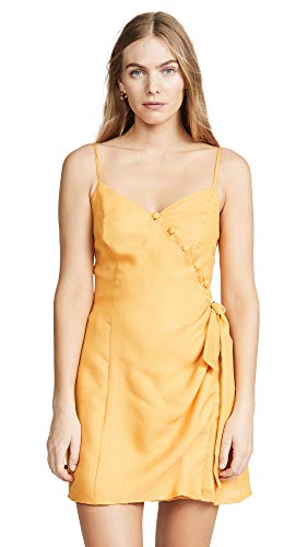 (MOON RIVER Women's Sleeveless Side Tie Short Dress, Tangerine, m)