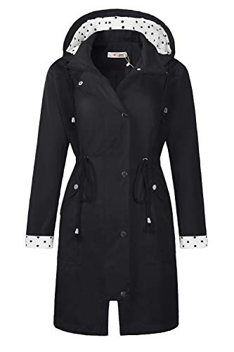 BBX Lephsnt Waterproof Lightweight Rain Jacket Active Outdoor Hooded Raincoat for Women