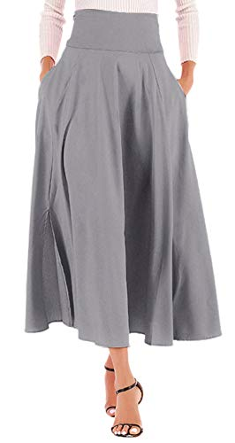 Calvin&Sally Women High Waist Flared Skirt Pleated Midi Skirt with Pocket (Grey L)