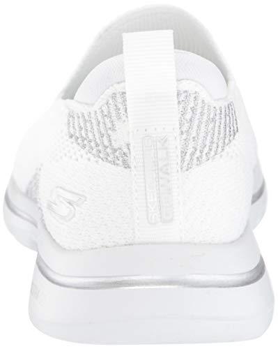 Skechers womens Walking Sneaker, White/Silver, 11 US