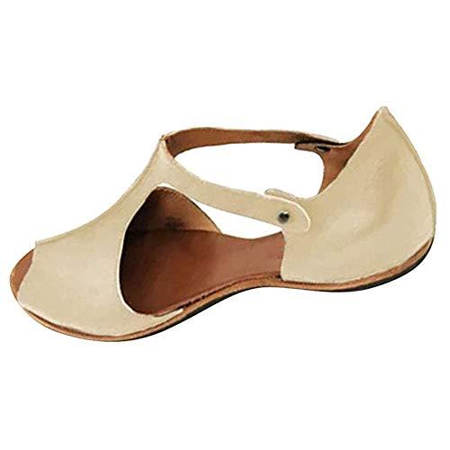 HIFUAR Womens Flat Sandals Retro Fashion Fish Mouth Beach Shoes Open Toe Ankle Bottom Roman Summer Sandals Beige (US 9,41) ()