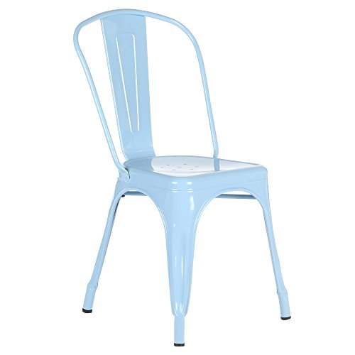 Tolix Style Bistro Dining Side Chair, Light Blue