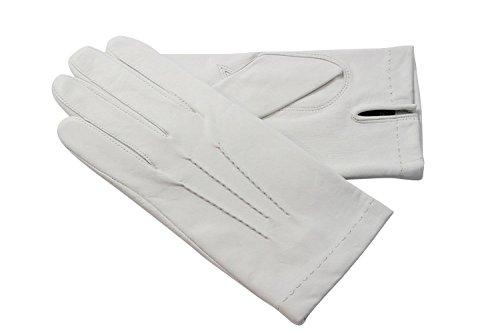 Gants blancs Officier en cuir d'agneau avec 3 nervures sur le dessus de la main