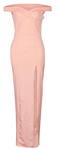 Maxi Slit Cromoncent Off Slim Shoulder Womens Dress Sexy Sweetheart Pink Party qg8OX