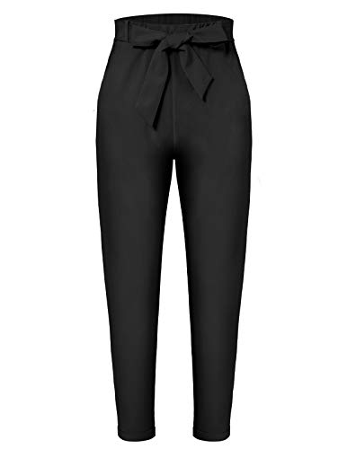 - MAVIS LAVEN Womens Paper Bag Pants Trouser Tie Waist Cropped Ankle Pants with Pockets (Black, Medium)