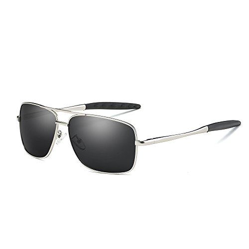 VeBrellen Driving Sunglasses Ultra Lightweight Rectangular Polarized Sun Glasses 100% UV Protection Al-Mg Metal Frame YJ121 (Silver Frame Black - Sunglasses Silver Frame