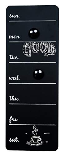 Space Art Deco - 16.1 x 5.9 in Chalkboard Weekly Day Planner Organizer (Magnetic) - Black - 2 Magnets - Time Calendar, Message, Menu - Memo Board for Family Home, Kitchen, Room - Dry Chalk Use Only ()