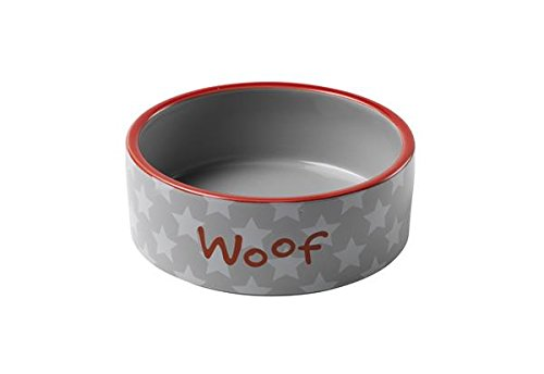 Bowl Red Ceramic Design Dog - Petface Woof White Star Ceramic Bowl, 20 cm