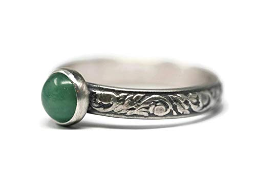 Green Aventurine and Sterling Silver Ring on Vine Pattern Band in Antique Finish