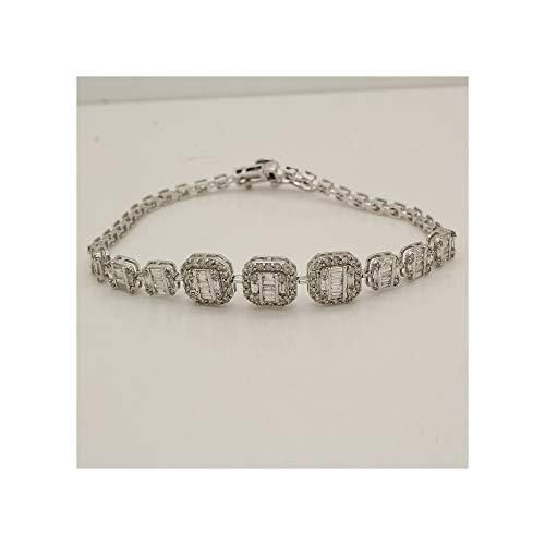 - 1.75 Ct Round & Baguette Natural Diamond 14k White Gold Over Halo Cluster Tennis Bracelet