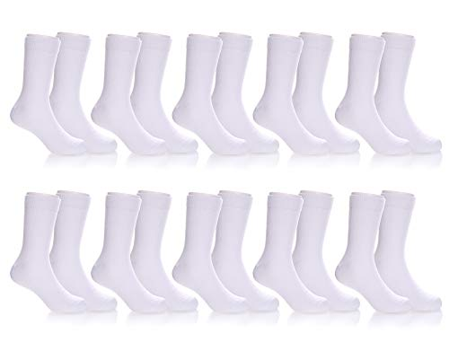 (AOXION 10 Pairs Toddler Kids Girls Boys Soft Breathable Cotton Crew Socks 3-13 Year Old (10 Pack White, 3-5 Year)