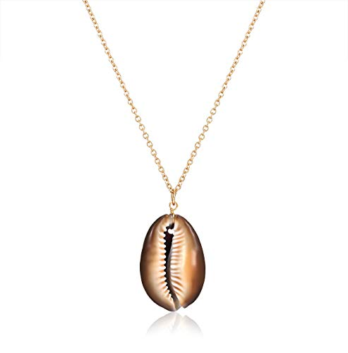Cowrie Shell Pendant Necklace Bohemian Conch Seashell Choker Necklace Handmade Sea Bead Necklace Hawaii Brown Shell Necklace Ocean Beach Jewelry Adjustable (Brown) ()