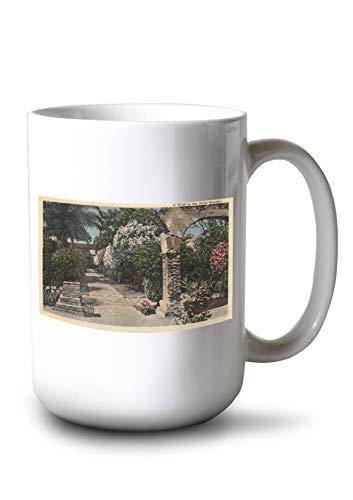 Lantern Press Pathways of The Patio Mission Garden (15oz White Ceramic Mug)