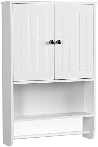 Topeakmart White Wood Bathroom Wall Mount Cabinet 2 Door Toilet Medicine Storage Organizer Full Size Bar Shelf