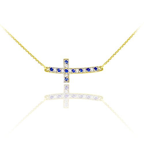 14k Gold Diamond and Sapphire Sideways Curved Cross Necklace (22 Inches)