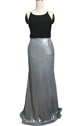 Largas Faldas Para Con Zamtapary Plata Lentejuelas Mujer qPOKwpx4H