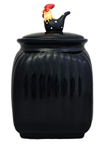 (TUSCANY BLACK ROOSTER W/DOTS, COOKIE JAR, 83776 BY ACK)