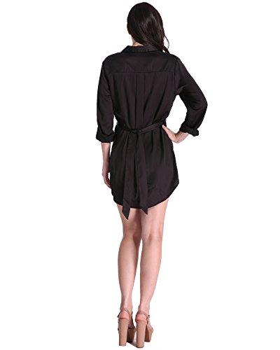 Auxo Blusa Vestidos Corte Mujer Camisa V Cuello Manga Larga Elegante con Cinturón 2017 Negro