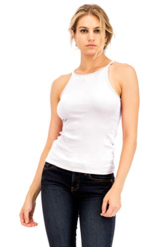 NANAVA Basic Ribbed High Neck Racerback Camisole Top White Size 2X