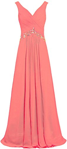 Prom Neck Gowns Formal Long Coral V ANTS Evening Sleeveless Women's Dresses qUxptnP