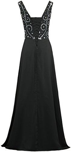 V Bead Evening Prom Dresses Neck Chiffon Black Long ANTS Gown Women's 17w5HH