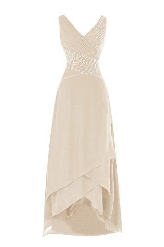 Bess Bridal Women's Beaded V Neck Tea Length Mother Of The Bride Dresses US20W Champagne