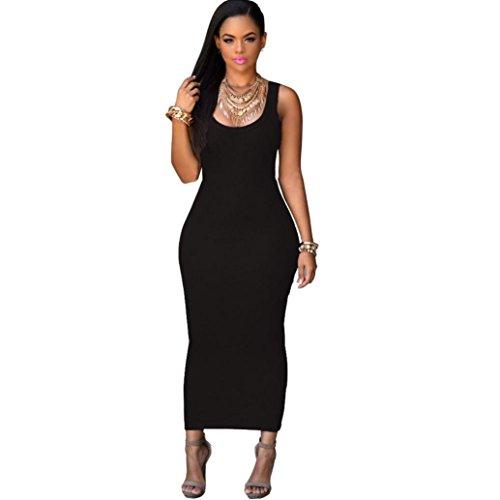 KMG Kimloog Women Sleeveless Stretch Bodycon Party Maxi Long Dress Casual T-Shirt Sundress (L, Black) -