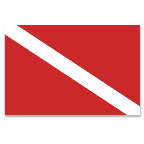 New American Vinyl Scuba Dive Flag Sticker (diving diver banner red white snorkel) for cheap
