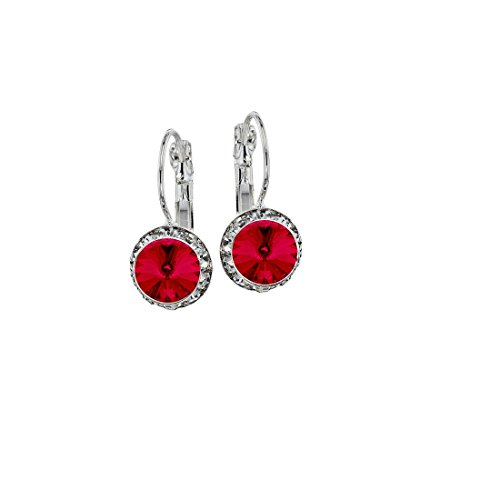 Euro Wire Earrings Styles By JS Swarovski Crystals Rondelle Birthstone Earrings (07 - Ruby Red - July) ()
