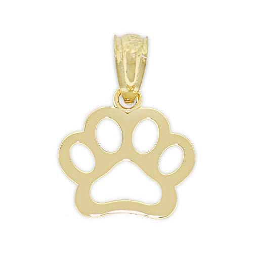 Charm America - Gold Dog Paw Charm - 14 Karat Solid Yellow Gold ()
