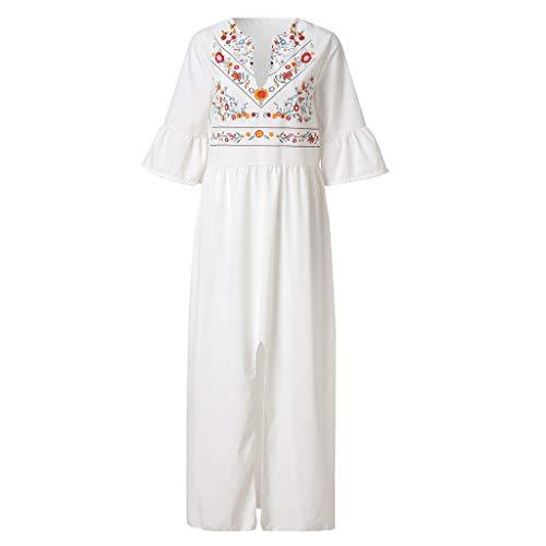 Women Kaftan Dress, NDGDA Vintage Short Flare Sleeve Printed Split Hem Maxi Dress
