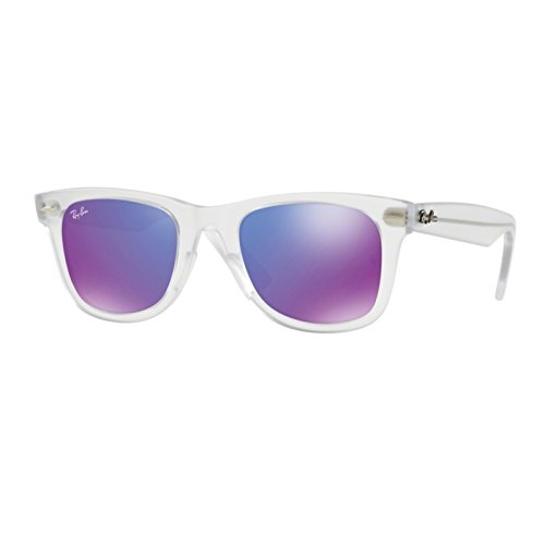 Ray-Ban Plastic Unisex Non-Polarized Iridium Square Sunglasses, Matte Trasparent, 50 - Iridium Is What Sunglasses
