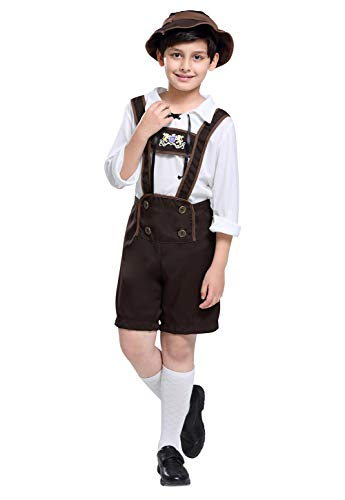 Haorugut Kids Oktoberfest Costume Bavarian Little Lederhosen Role Play German Beer Dress Up for Boys Girls L Brown