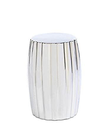 Koehler Home Indoor Outdoor Decorative Silver Accent Striking Ceramic Seat  Table Stool
