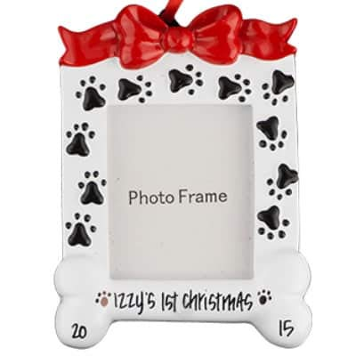 (Dog Photo Frame Personalized Ornament - (Unique Christmas Tree Ornament - Classic Decor for A Holiday Party - Custom Decorations for Family Kids Baby Military Sports Or Pets))