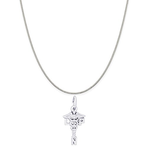 Rembrandt Charms 14K White Gold LPN Caduceus Charm on a 14K White Gold Box Chain Necklace, 18
