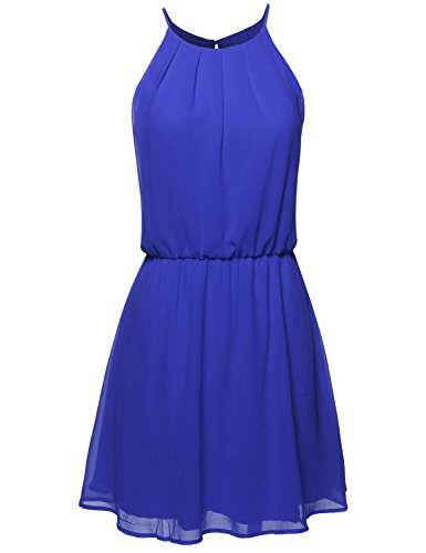 High Neck Pleated Dress w/ Waistband Royal Blue Size L