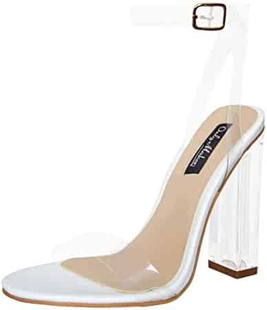 e937d7db Onlymaker Women's Lucite Clear Ankle Strap Adjustable Buckle Block Chunky  Perspex High Heel Transparent Dress Sandals