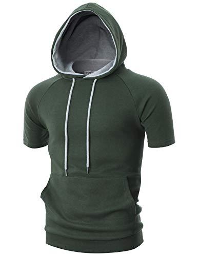 OHOO Mens Slim Fit Short Sleeve Lightweight Raglan Zip-up Two-Tone Hoodie with Kanga Pocket/DCF053-KHAKI/GREY-2XL