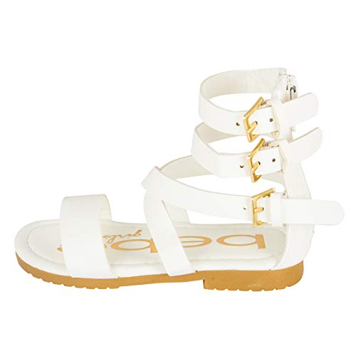 bebe Girls Toddler/Little Kid Wide Strap Flat Gladiator Sandals with Back Zipper and Buckles 10 White]()