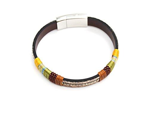 BC1830F - Bracelet Aimanté Simili Cuir Python Beige avec Bandes Fils Colorés et Strass - Mode Fantaisie