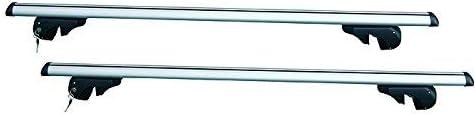 c/è Spazio tra Il Tetto E LA Barra Barre PORTATUTTO Portapacchi in Alluminio da Tetto,STUDIATE per Auto con Railing Tradizionali Apertura Max 110 CM Barre PREMONTATE DOTATE di Sistema ANTIFURTO.