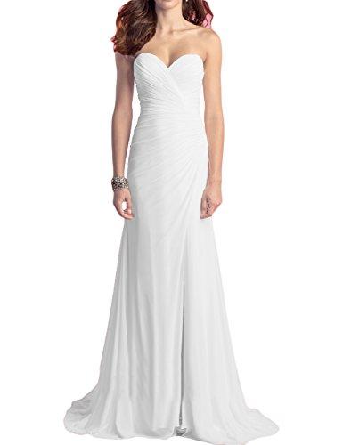 White Strapless Wedding Gown (OYISHA Women's Strapless Beach Wedding Dresses Chiffon Slit Bridal Gown WD009 White)