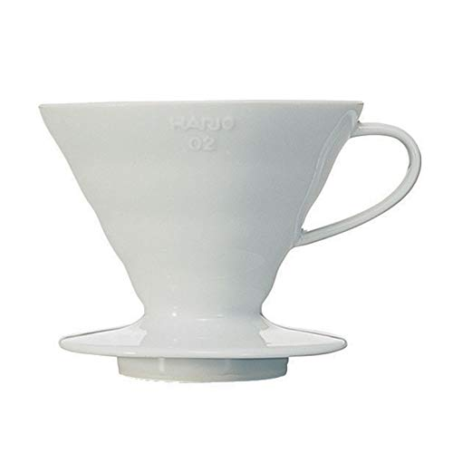 Hario V60 Ceramic Pour Over Coffee Dripper, Size 02, White