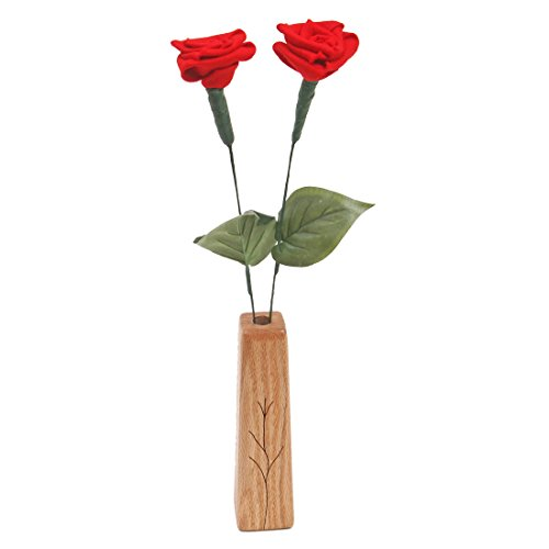 7th Wedding Anniversary gift 2-stem wool roses with vase