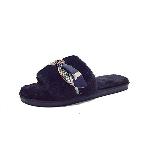 La Caldo Da Ciabatte Indossa Nero Xiu A Piatto Pantofole In Cotone E Pelle Donna Casa Scamosciata f788wqxB