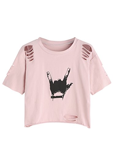 SweatyRocks Tshirt Black Print Distressed Crop T-shirt Pink S