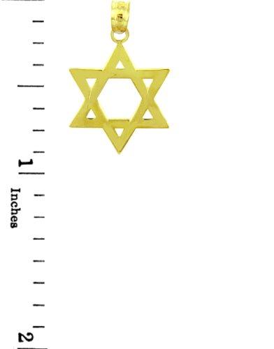10 ct 471/1000 Charme Juive - La 14 ct 585/1000 Or Classique etoile de David Pendentif Collier (Livre Avec un 45 cm Chaine)